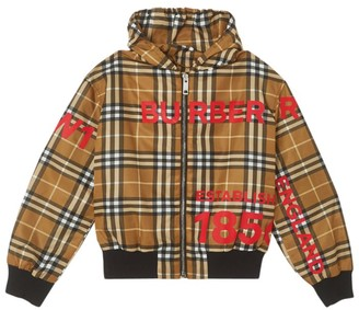 Burberry Kids Vintage Check Hooded Jacket (10-12 Years)