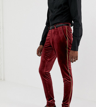 Asos Design DESIGN Tall super skinny smart trouser in burgundy velvet with gold piping-Red