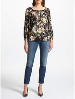 Velvet by Graham & Spencer Vivien Floral Print Top, Black Floral