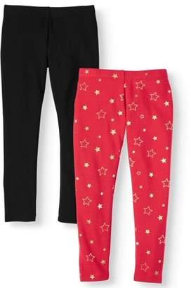 Wonder Nation Solid and Printed Fleece Lined 2-Pack Leggings (Little Girls, Big Girls & Plus)