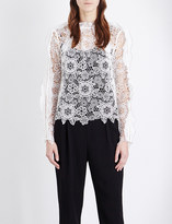 Self-Portrait Cutout Floral lace top