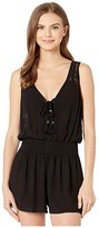 Becca by Rebecca Virtue Poetic Crinkled Rayon Short Romper Cover-Up (Black) Women's Swimsuits One Piece