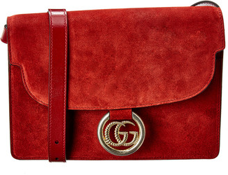 Gucci Torchon Double G Suede Shoulder Bag