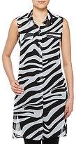 Allison Daley Petites Button Front Lined Zebra Print Duster