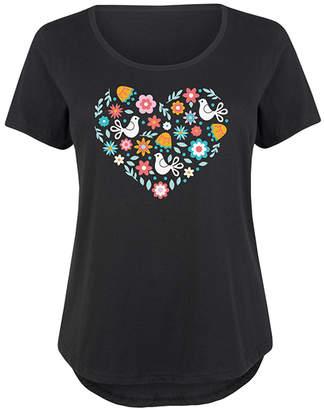 Instant Message Plus Women's Tee Shirts BLACK - Black Floral Dove Heart Scoop Neck Tee - Plus