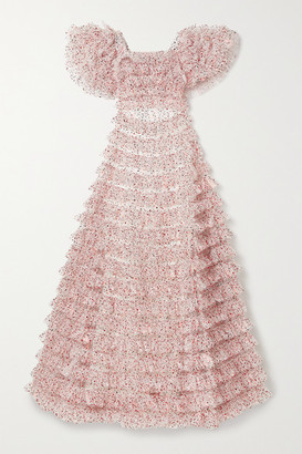 Rodarte Ruffled Tiered Metallic Tulle Gown