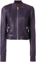 Rick Owens cropped bomber jacket - women - Silk/Cotton/Lamb Skin/Virgin Wool - 42