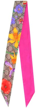 Gucci GG Flora printed silk scarf