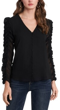 1 STATE Ruched-Sleeve Button-Front V-Neck Top