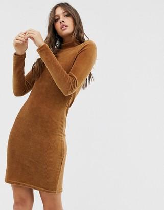 Pieces long sleeve bodycon dress-Beige