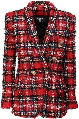 Balmain Over Tartan Tweed Button Jacket