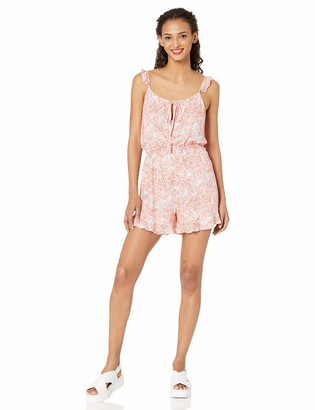 Cupcakes And Cashmere Women's Monarch Printed Romper with Ruffle Details