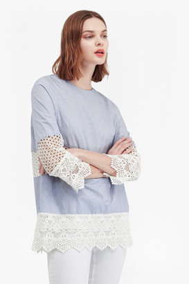 French Connection Kyra Cotton Lace Crochet Tunic