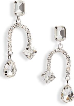 CRISTABELLE Crystal U-Shape Drop Earrings