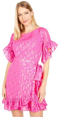Lilly Pulitzer Darlah Silk Dress (Raz Berry Leopard Metallic Clip) Women's Dress