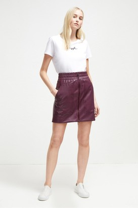 French Connection Brishen PU Zip Front Mini Skirt
