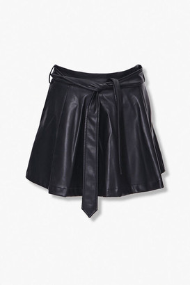 Forever 21 Faux Leather Belted Mini Skirt