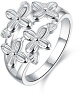 Aries Womens Romantic Four-leaf Grass Silver Plated Rings