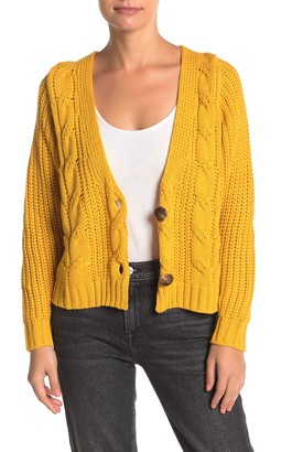 Cotton Emporium Cable Knit V-Neck Crop Cardigan