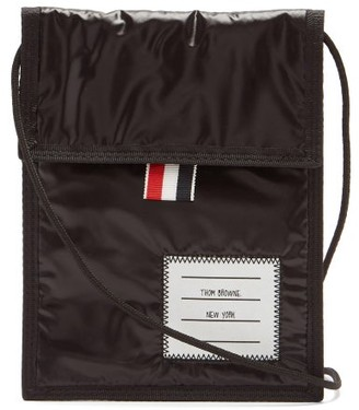 Thom Browne Logo-applique Velcro Pouch - Black