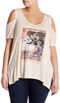 Jessica Simpson Cold Shoulder Graphic Shirt (Plus Size)
