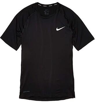 Nike Top Short Sleeve Tight (Black/White) Men's Clothing
