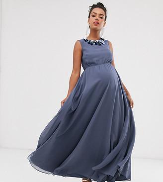 Asos DESIGN Maternity maxi dress with 3D floral embellished neckline