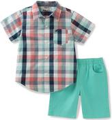 Kids Headquarters Coral Plaid Button-Up & Aqua Shorts - Infant & Toddler