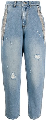 Chiara Ferragni crystal-embellished loose-fit jeans