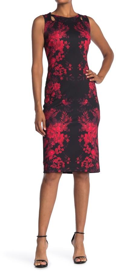 T Tahari Floral Keyhole Sleeveless Scuba Sheath Dress