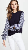 Clu Sweatshirt with Gingham Ruffle Sleeve