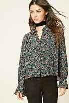 Forever 21 FOREVER 21+ Semi-Sheer Floral Print Shirt