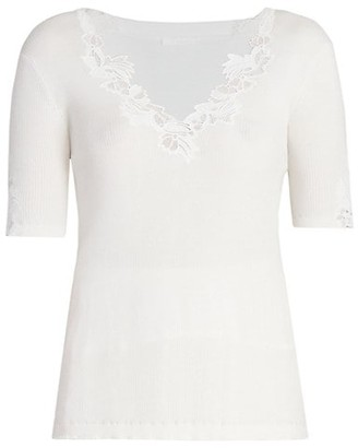 Chloé Floral-Trimmed Cotton Ribbed T-Shirt