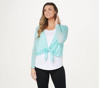 Belle By Kim Gravel Textured Knit Shimmer Tie-Front Shrug