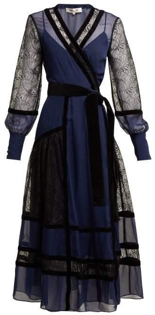 Diane von Furstenberg Forrest Organza And Lace Midi Dress - Womens - Black Navy