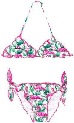 Mc2 Saint Barth Kids TEEN ruffle-trim flamingo bikini