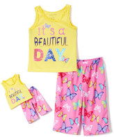 Komar Kids Yellow & Pink 'Beautiful Day' Pajama Set & Doll Pajama Set - Girls