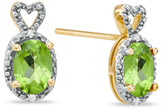 Zales Oval Peridot and Diamond Accent Heart Top Frame Stud Earrings in 10K Gold