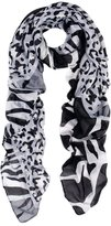 TrendsBlue Elegant Leopard & Zebra Mixed Animal Print Scarf