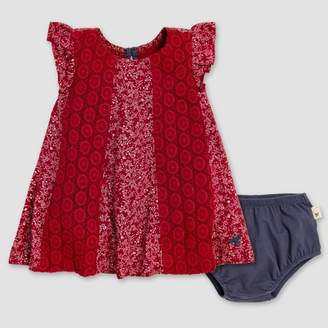 Burt's Bees Baby® Baby Girls' Dainty Floral Crochet Dress & Diaper Cover Set - Red/Navy Blue 0-3M