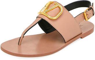 Valentino Garavani VLOGO Flat Leather Thong Sandals