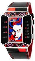 01 The One 01TheOne Unisex SC113R1 Split Screen Art Edition Red LED Black Leather Watch