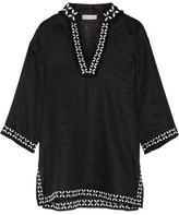 Tory Burch Embellished Embroidered Linen Tunic - Black