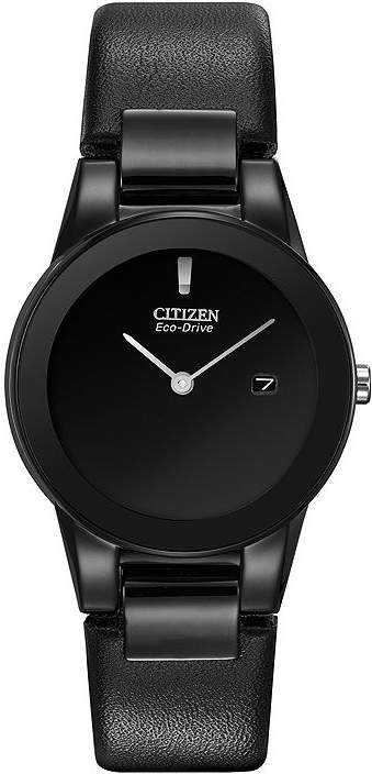Citizen Eco-Drive Axiom Womens Black Leather Strap Watch GA1055-06E