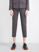 Jil Sander Textured tailored-fit mid-rise shell trousers