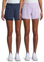 Athletic Works Women's Performance Running Shorts, 2 Pack