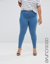 Asos Rivington Jeggings In Mid Wash Blue
