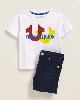 True Religion Infant Boys) Two-Piece Logo Tee & Denim Shorts Set
