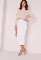 Missguided Longline Jersey Midi Skirt White