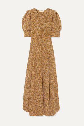 DÔEN Laurel Asymmetric Floral-print Silk Crepe De Chine Maxi Dress - Mustard